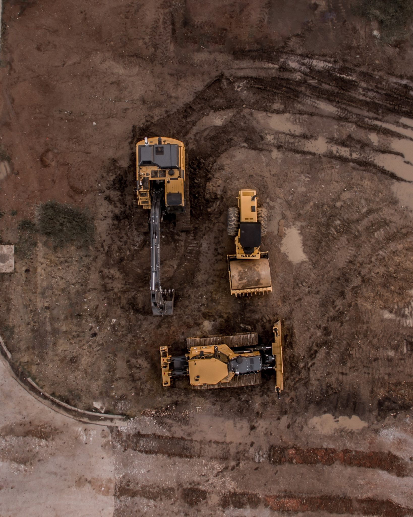 Aerial view of excavating on a construction site